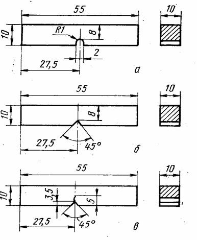 Материаловедение Контрольная работа Определение ударной  Образцы для испытаний на ударную вязкость